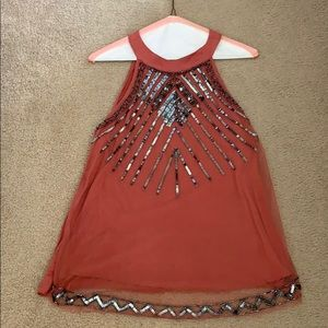 Coral and dark silver sequin tank